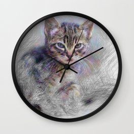 Artistic Animal Kitten Wall Clock