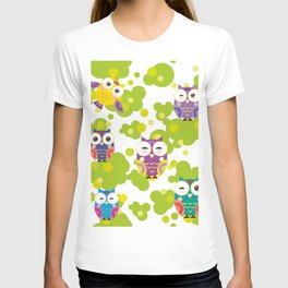 bright colorful owls and green leaves on white background T-shirt