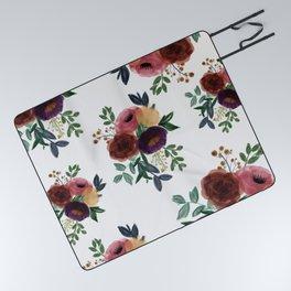 Floral Watercolor Bouquet Pattern Picnic Blanket