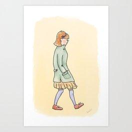 Girl in Jacket Art Print