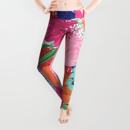 Pretty Colorful Big Flowers Hand Paint Design Leggings