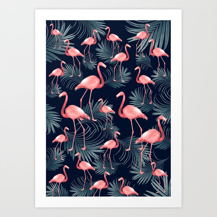Summer Flamingo Palm Night Vibes #1 #tropical #decor #art #society6 Art Print