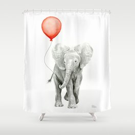 Baby Elephant Watercolor Red Balloon Nursery Decor Shower Curtain