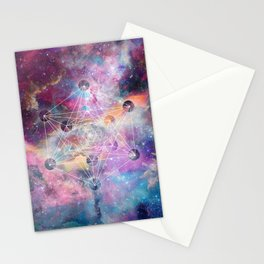 Watercolor and nebula sacred geometry  Stationery Cards