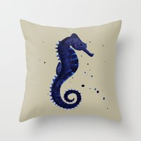 sea horse Throw Pillows featuring Sea Horse by Chrystal Elizabeth