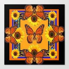 Western Black & Orange Monarch Butterflies  Sunflower Patterns Art Canvas Print