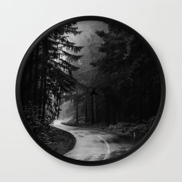 The Dark Path (Black and White) Wall Clock
