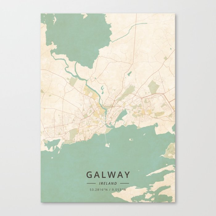 Galway On Map Of Ireland.Galway Ireland Vintage Map Canvas Print By Designermapart