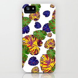 GREEN-GOLD-PURPLE TROPICAL LEAVES ART iPhone Case