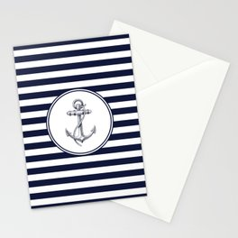 Anchor and Navy Blue Stripes Stationery Cards