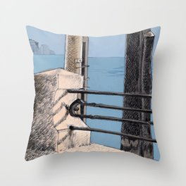 Baveno Dock, Northern Italy Throw Pillow