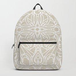 White Lace Mandala on Antique Ivory Linen Background Backpack
