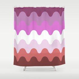 Wavy Lesbian Flag. Shower Curtain