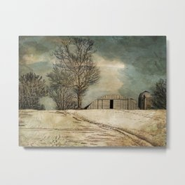 Winter Farmlands Metal Print