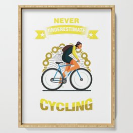 Never Underestimate An Old Man Who Loves Cycling Cyclist Bicycle Fitness Exercise Gift Serving Tray