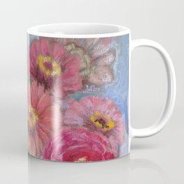 Autumn FLOWERS in the garden Still Life Pastel drawing Pink Purple Decorative Painting Coffee Mug