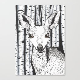 Ink and watercolor black and white doe/deer in the forest Canvas Print