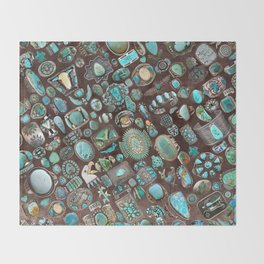 Vintage Navajo Turquoise stones Throw Blanket