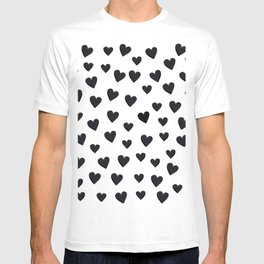 Hearts Love Black and White Pattern T-shirt