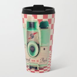 Mint Retro Camera on Red Chequered Background  Travel Mug