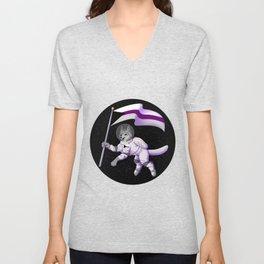 Demisexual Pride Space-Wolf Unisex V-Neck