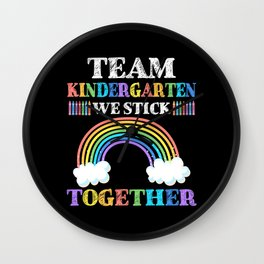 Team Kindergarten Kids Rainbow Teacher Student Wall Clock