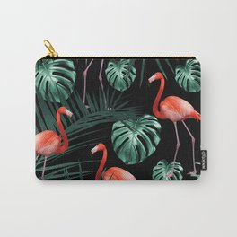 Tropical Flamingo Night Pattern #1 #tropical #decor #art #society6 Carry-All Pouch