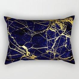 BlueBlack-Gold Marble Galaxy Impress Rectangular Pillow