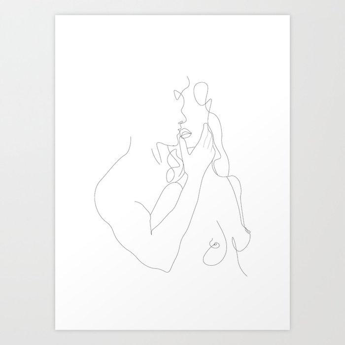Couple - Minimal Line Drawing Art Print