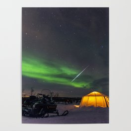 Northern Lights and Geminid Meteor Over the Arctic Poster