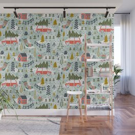 Home For The Holidays Blush Mint Christmas Wall Mural