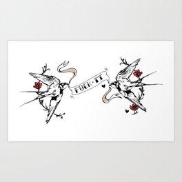Fuck It - Swallow Tattoo Illustration Art Print