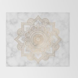 Marble Gold Mandala Design Throw Blanket