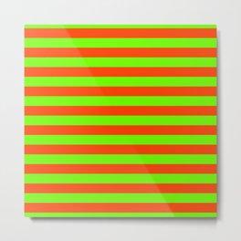 Super Bright Neon Orange and Green Horizontal Beach Hut Stripes Metal Print