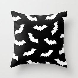 Black & White Bats Pattern Throw Pillow