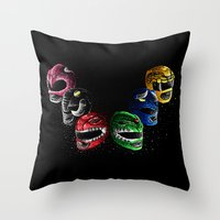 power rangers Throw Pillows featuring Mighty Morphin Power Rangers by Jelly Soup Studios