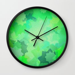 Nine Pointed Stars - Green Wall Clock