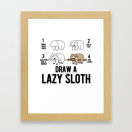 Draw a lazy Sloth fun animal step by step painting Framed Art Print