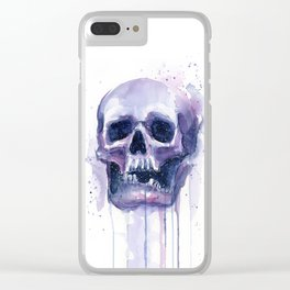 Skull in Watercolor Galaxy Space Clear iPhone Case