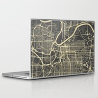 kansas city Laptop & iPad Skins featuring Kansas City map by Map Map Maps