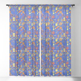 Funky, Fresh Fitness, Blue, Orange Red, Sports and Retro Style Sheer Curtain