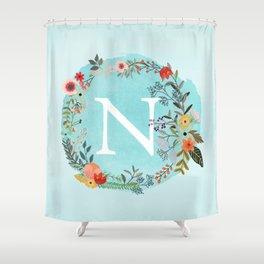 Personalized Monogram Initial Letter N Blue Watercolor Flower Wreath Artwork Shower Curtain