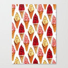 Ice Cream Pattern - Soft Serve Canvas Print