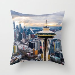 USA Photography - Seattle Space Needle In The Day Throw Pillow