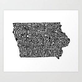 Typographic Iowa Art Print
