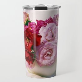 Red pink roses wedding bouquet - floral photogrpaphy Travel Mug