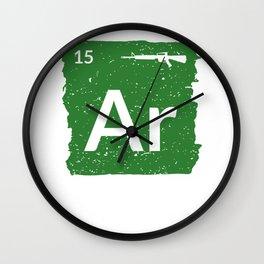 AR15 Rifle Periodic Table Patriotic For Veteran Wall Clock