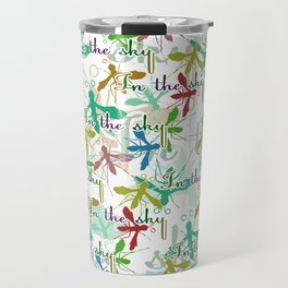 Multicolored mosquitoes flying in the sky on a white background with the inscription Travel Mug