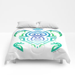 Tribal Turtle on White Comforters