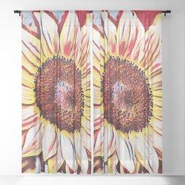 Cute Yellow Sunflower Sitting In The Sun Artwork Sheer Curtain